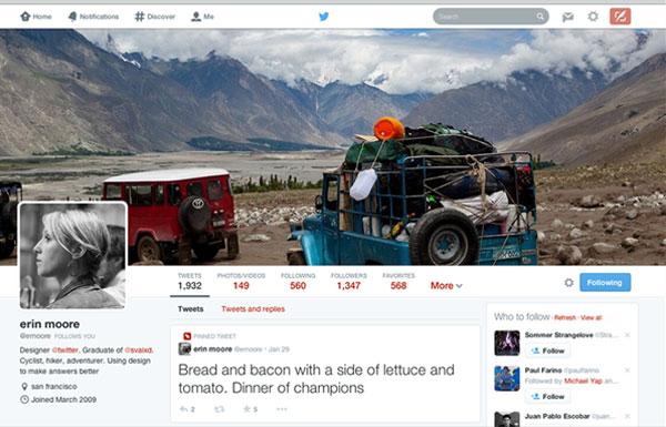 Novo perfil do Twitter