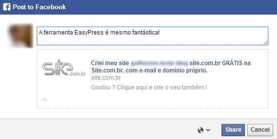 Recomendar no Facebook