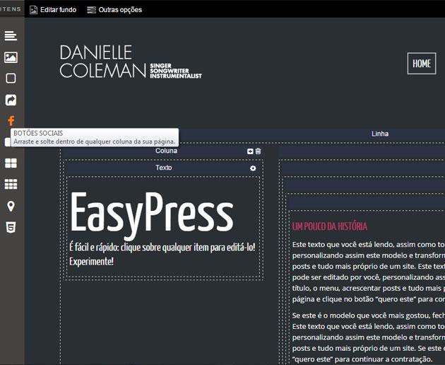 Tela de edição EasyPress