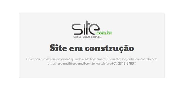 Exemplo de página de site em construção
