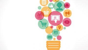 lâmpada com ideias de estratégia de marketing