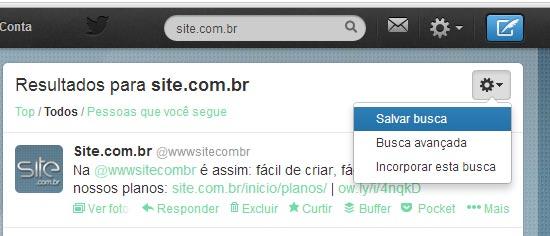 Como salvar busca no Twitter